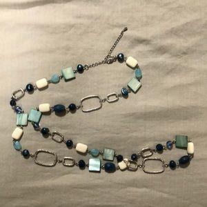 Lia Sophia blue white beaded silver necklace.